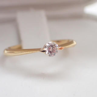 STAR JEWELRY - K18  ダイヤモンドリング 0.1ct 一粒 華奢 美品