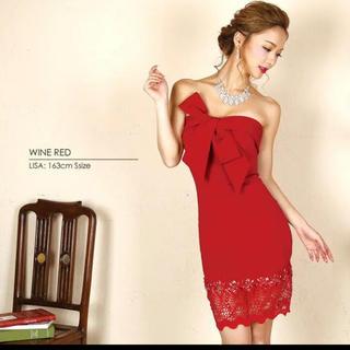 エンジェルアール(AngelR)の新品 タグ付き エンジェルアール 赤ドレス(ミディアムドレス)