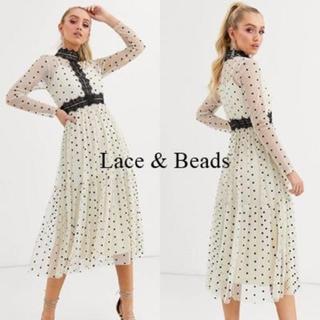 エイソス(asos)のASOS☆Lace & Beads ハイネック ドット柄ドレス(ミディアムドレス)