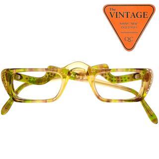 SALE!未使用 アメリカ製ヴィンテージ ラインストーン リーディンググラス眼鏡(サングラス/メガネ)