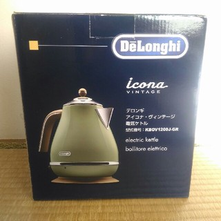デロンギ(DeLonghi)の[新品]デロンギ 電気ケトル アイコナ・ヴィンテージ オリーブグリーン 1.0L(電気ケトル)