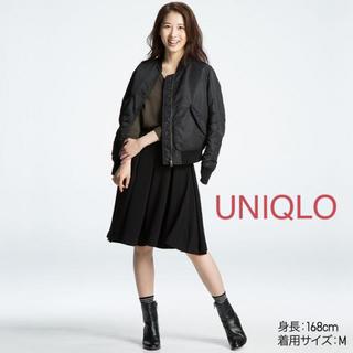 ユニクロ(UNIQLO)のUNIQLO MA-1 ジャンパーブルゾン ミリタリージャケット ブラック(ミリタリージャケット)