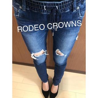 RODEO CROWNS - ロデオクラウンズ ジョグ デニム スキニー ダメージ ストレッチ Sサイズ