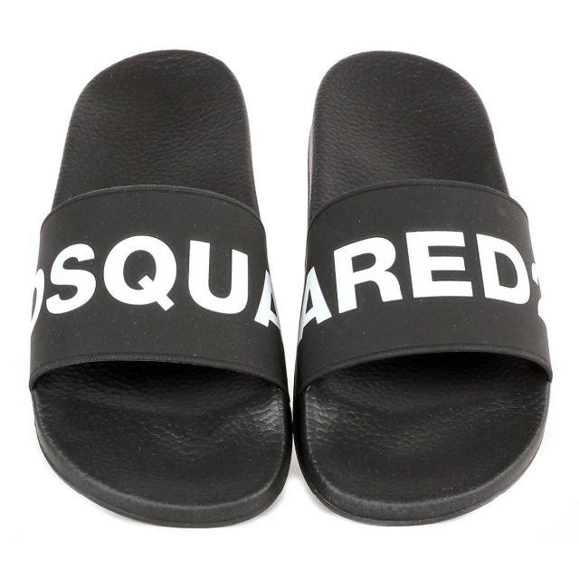 DSQUARED2(ディースクエアード)の4 DSQUARED2 ブラック ラバー サンダル シャワーサンダル 40 メンズの靴/シューズ(サンダル)の商品写真