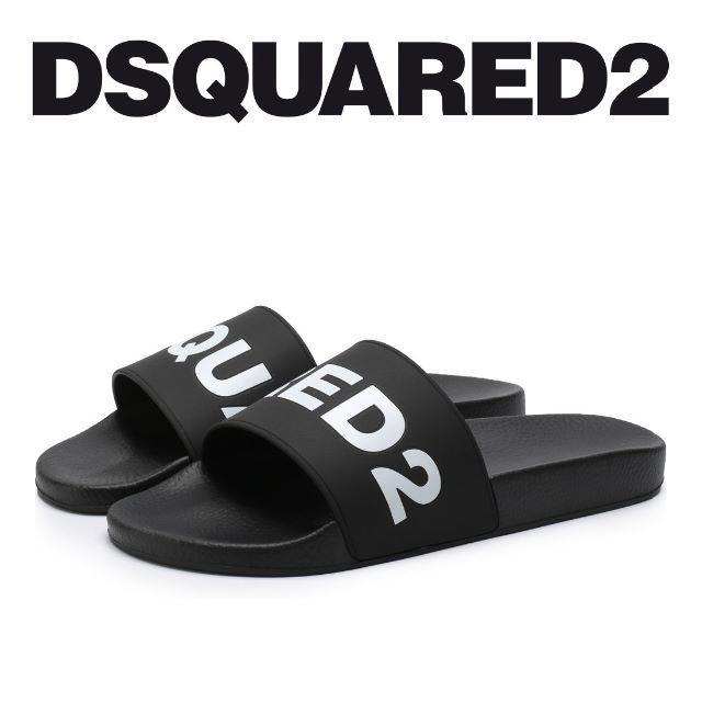 DSQUARED2(ディースクエアード)の4 DSQUARED2 ブラック ラバー サンダル シャワーサンダル 43 メンズの靴/シューズ(サンダル)の商品写真