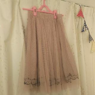 パラビオン(Par Avion)のパラビオン チュールスカート リボン刺繍(ひざ丈スカート)