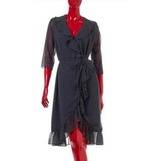 ダブルスタンダードクロージング(DOUBLE STANDARD CLOTHING)のダブルスタンダード 水玉フリル上品ワンピース(ひざ丈ワンピース)