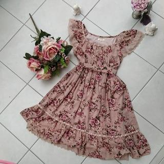 LEST ROSE3段ティアード花柄お姫様ワンピース ピンク