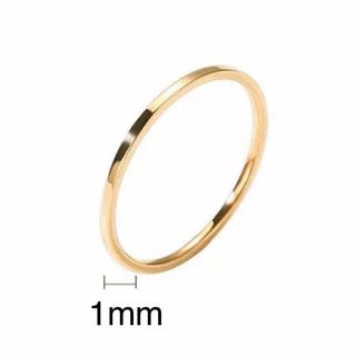 超極細ステンレスリング 重ねて着け ピンキーリング 関節リング 14Kゴールド (リング(指輪))