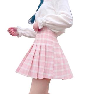 ユニフ(UNIF)のピンク チェック プリーツスカート(ミニスカート)