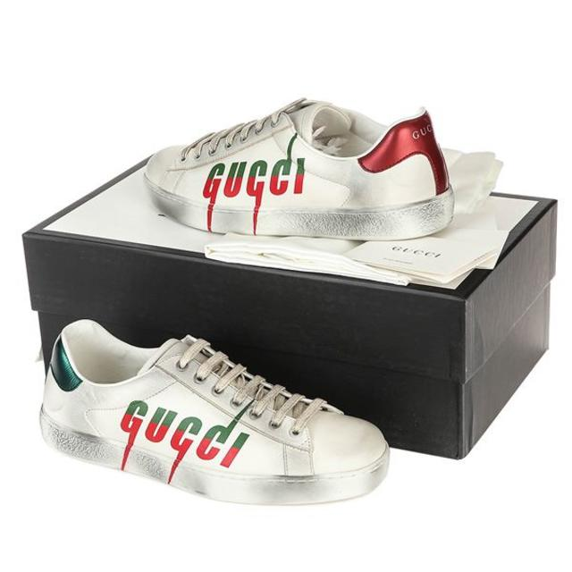 Gucci(グッチ)の03 GUCCI 19awエース ロゴブレードヴィンテージ加工スニーカー8.5 メンズの靴/シューズ(スニーカー)の商品写真