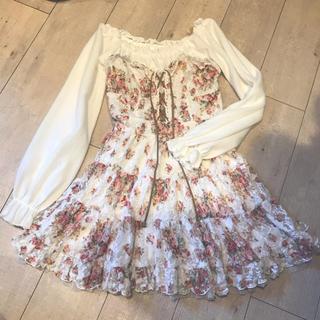 リズリサ(LIZ LISA)のLiz Lisa リズリサ ワンピース ワンピ 花柄 コルセット風 白 ピンク(ミニワンピース)