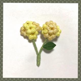 フラワーブローチ*ふたごのお花〜イエローmix(コサージュ/ブローチ)