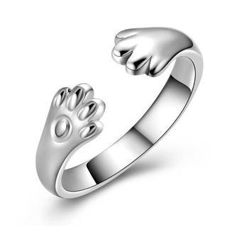 【ホワイトゴールド】猫の手リング リング 指輪 肉球 猫雑貨オープンタイプ (リング(指輪))