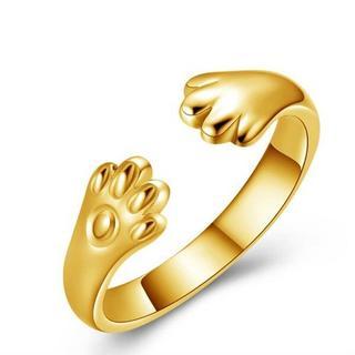 【イエローゴールド】猫の手リング リング 指輪 肉球 猫雑貨オープンタイプ (リング(指輪))