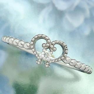 ☆ハートモチーフ 一粒ダイヤ ミルウチ リング☆K18WG ホワイト 11.5号(リング(指輪))
