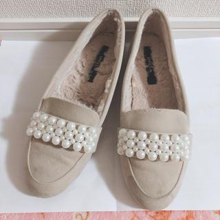ダブルクローゼット(w closet)のwcloset♡パール裏ファーパンプス♡ベージュ(ローファー/革靴)