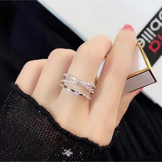 スワロフスキー(SWAROVSKI)の金属アレルギー対応 レディース 華奢 ゆびわ 婚約指輪 フリーサイズリング (リング(指輪))