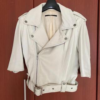 トゥモローランド(TOMORROWLAND)のトゥモローランド Edition ラム 羊革 ライダースジャケット ホワイト(ライダースジャケット)