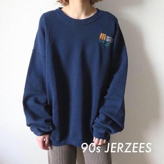 サンタモニカ(Santa Monica)の90s JERZEES 刺繍 企業ロゴ スウェット トレーナー 古着(トレーナー/スウェット)