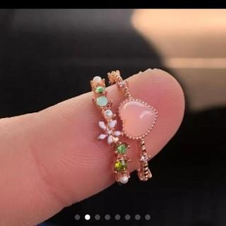 《新品》値下げ❗韓国製 フリーサイズ  2連風リング ピンクゴールド(リング(指輪))