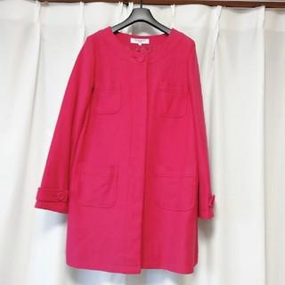 ナチュラルビューティーベーシック(NATURAL BEAUTY BASIC)のピンクのロングコート、ナチュラルビューティーベーシック(ロングコート)