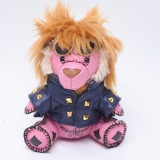 エムシーエム(MCM)のMCM チャーム キーリング ライオン クマさん 熊 スタッズ ピンク ブラック(キーホルダー)