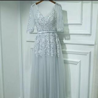 セルフポートレイト(SELF PORTRAIT)のセレブ 高級感 ブルードレス 結婚式 花柄 刺繍  ワンピース 袖あり(ロングドレス)