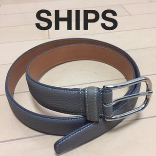 SHIPS - 新品未使用 SHIPS シップス メンズ レザーベルト グレー  14,000円
