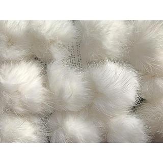 リアルファーマフラー ファー うさぎのしっぽ もこもこマフラー ふわふわマフラー(毛皮/ファーコート)