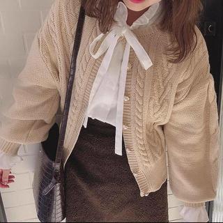 one after another NICE CLAUP - rili_tokyo パールボタンケーブルニットガーデ rili  Tokyo