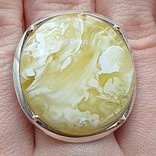 バルト産(ウクライナ産)天然琥珀 高級宝飾店品質ロイヤルアンバーリング(リング(指輪))