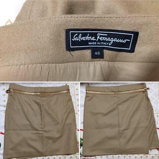 サルヴァトーレフェラガモ(Salvatore Ferragamo)のフェラガモ 綺麗 スカート Ferragamo ベージュ 46 高級 ブランド(ひざ丈スカート)