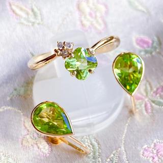 k18 ペリドット ダイヤ リング&イヤリングの春色セット(リング(指輪))