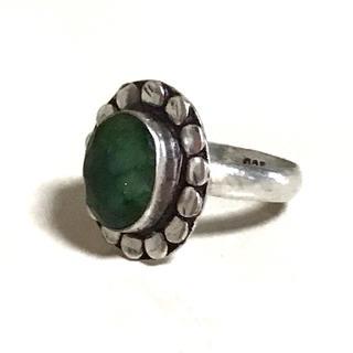 インド直輸入 手作り シルバー925 エメラルド リング 20号 天然石(リング(指輪))