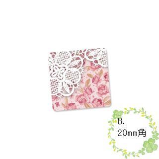〈ショップシール四角〉淡色花柄&レース《ピンク系01》5-28B(カード/レター/ラッピング)