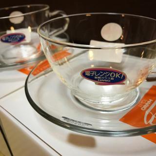 ハリオ(HARIO)のHARIO 耐熱ティーカップ&ソーサー TCSN-1T(2セット)新品・未使用(グラス/カップ)