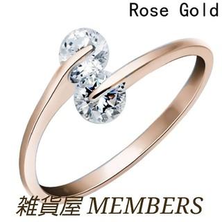 送料無料ピンクゴールドスーパーCZダイヤデザイナーズジュエリーリング指輪値下げ(リング(指輪))