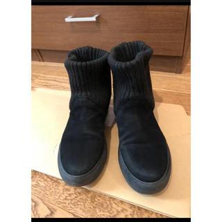DEUXIEME CLASSE - ◆mode kaori ニットレッグウォーマー付ブーツ スエード黒24センチ
