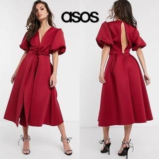 エイソス(asos)のASOS DESIGN ボリュームスリーブ ツイストプロムドレス(ミディアムドレス)