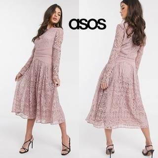 エイソス(asos)のASOS DESIGN ロングスリーブ レースドレス(ミディアムドレス)