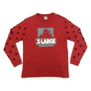 エクストララージ(XLARGE)のXLARGEエクストララージ星柄プリント袖ロングスリーブTシャツレッドサイズM(Tシャツ/カットソー(七分/長袖))
