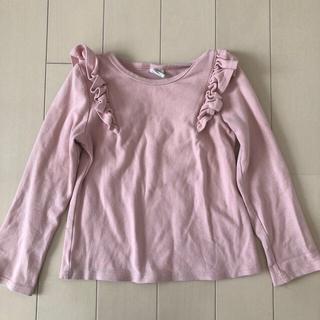 しまむら - ピンク 厚手カットソー 肩フリル 120センチ