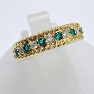 クリスチャンディオール(Christian Dior)のクリスチャンディオール ダイヤ エメラルド ハーフエタニティ リング K18(リング(指輪))