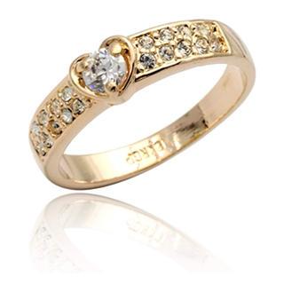 スワロフスキー(SWAROVSKI)の指輪 レディース ハート リング スワロフスキーダイヤモンドCZ 18金RGP(リング(指輪))