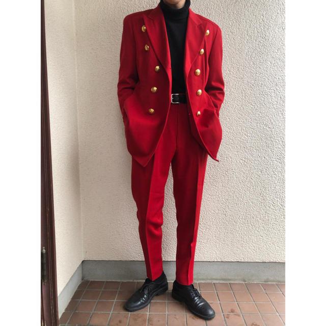 JOHN LAWRENCE SULLIVAN(ジョンローレンスサリバン)の極希少 LUNA MATINO セットアップ  赤 菅田将暉風 メンズのスーツ(セットアップ)の商品写真