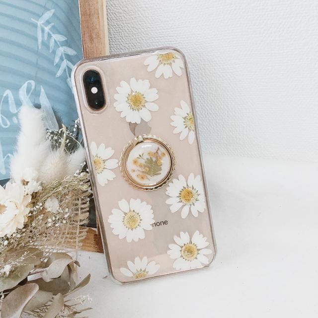 押し花ケース mimosaバンカーリング付 ハンドメイドのスマホケース/アクセサリー(スマホケース)の商品写真