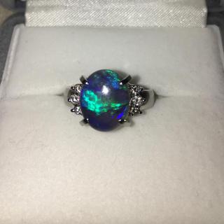 ダイヤモンド×ブラックオパール リング Pt900 1.86ct 8.2g(リング(指輪))