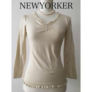 ニューヨーカー(NEWYORKER)の美品 NEWYORKER ニューヨーカー  Vネック 薄手 春 ニット M(ニット/セーター)