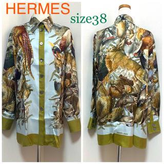 エルメス(Hermes)の【美品】HERMES『 H DE LINARES 』シルクブラウス 38(シャツ/ブラウス(長袖/七分))